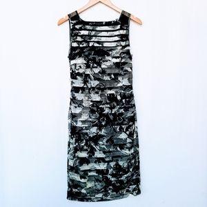 Adrianna Papell Floral Mesh Bandage Midi Dress sz6